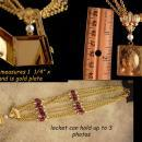Stunning Edwardian style locket necklace - 3 photo hinged book locket - faux amethyst - keepsake gift for mom - Costume jewelry