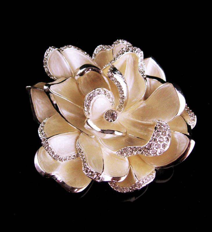 Couture statement huge brooch - Soft white signed rhinestone pin - joan Rivers enamel flower - Anniversary gift -  Mother of the bride gift