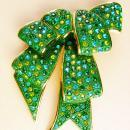 Couture statement huge bow brooch - green signed rhinestone pin - joan Rivers huge brooch - Anniversary gift -  Mother of the bride gift