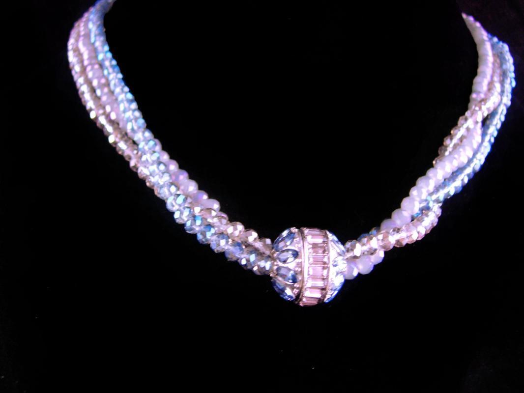 designer blue crystal glass necklace - silver faux topaz 3 strand necklace - wedding 18th 65th anniversary December birthstone sagittarius