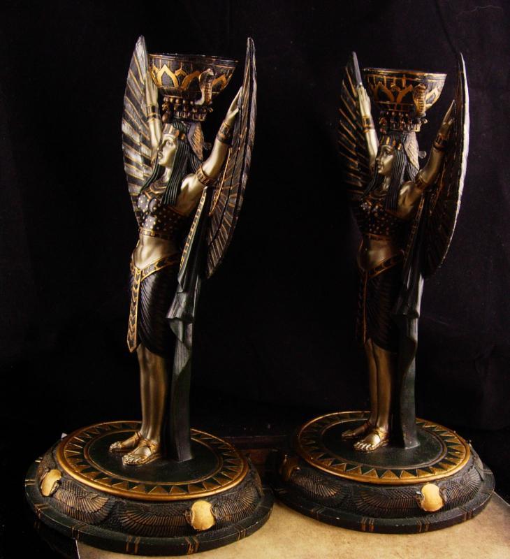 Pair Egyptian Goddess candleholders - art deco WInged goddess figurine lamps - exotic egypt revival queen statue -