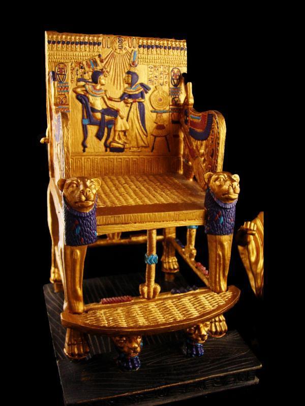 Egyptian Pharaoh 2 pc Statue - art deco Rameses 11 golden chair - exotic egypt statue - egyptian revival warrior-