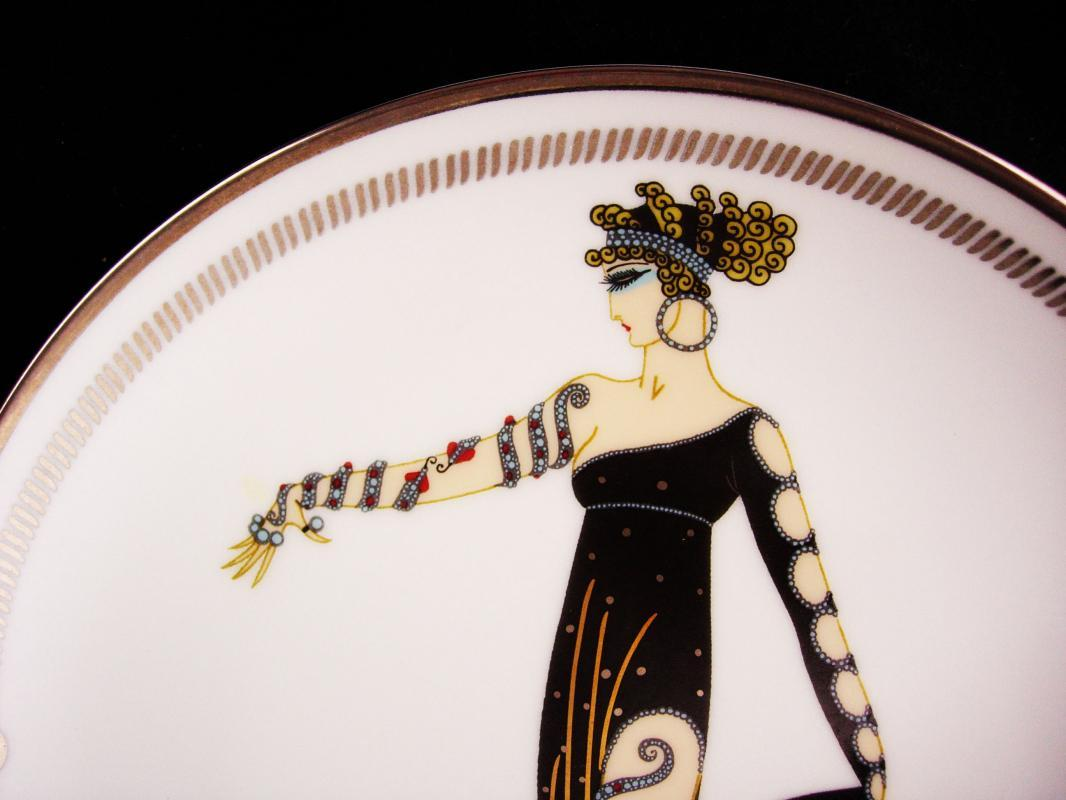 Vintage Art Deco etre snake woman plate - Snake charmer - 8