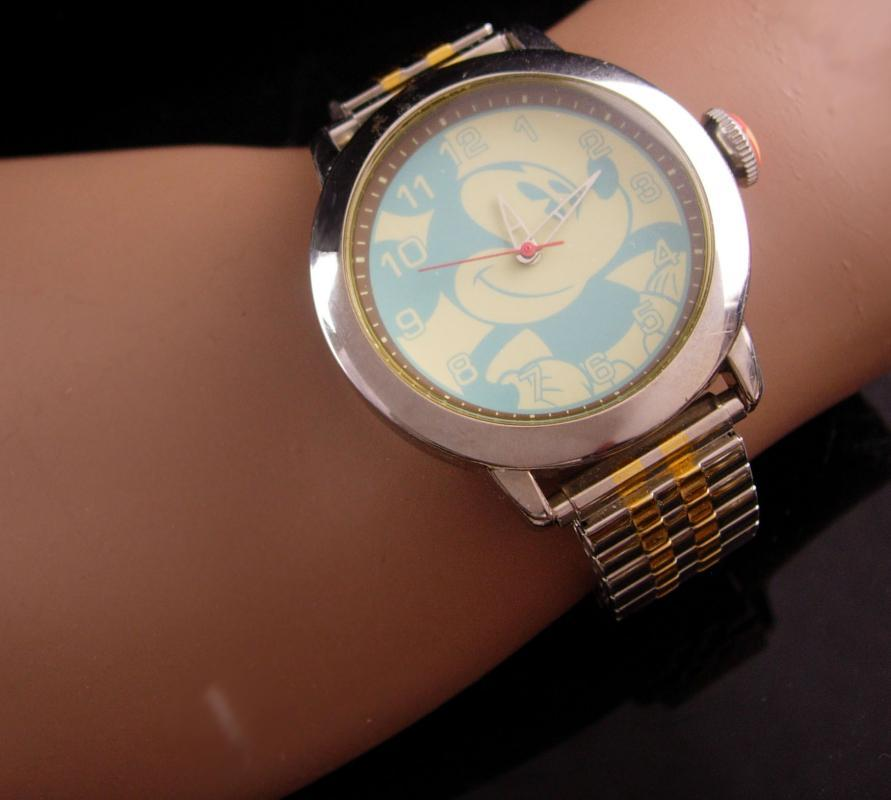 Vintage unusual mickey watch - Hadley Roma - S11 - water resistant runs well - ladies mens wristwatch - turquoise face