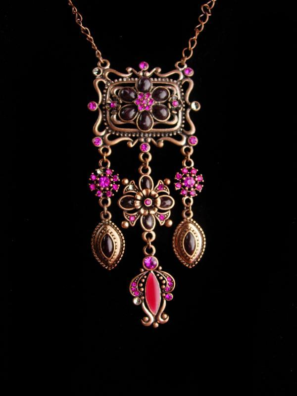 Joan rivers chandelier necklace - Rhinestone enamel edwardian style choker - rose gold plate - estate jewelry