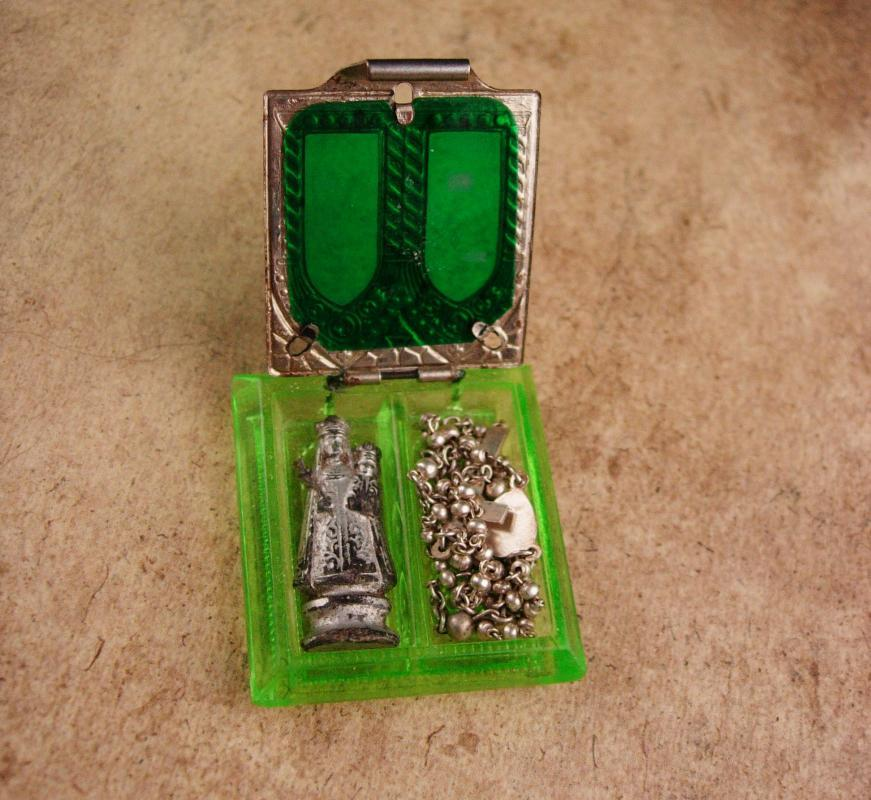 ANtique glass Glass Rosary box - miniature rosary - Irish gift - rosary inside hinged book - religious pocket icon childs rosary