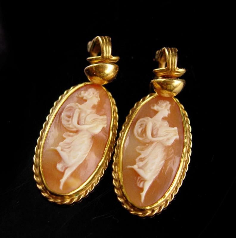 Victorian cameo earrings - Antique Neoclassical Cameo drops - 14kt gold filled - goddess cameo wedding jewelry / anniversary gift