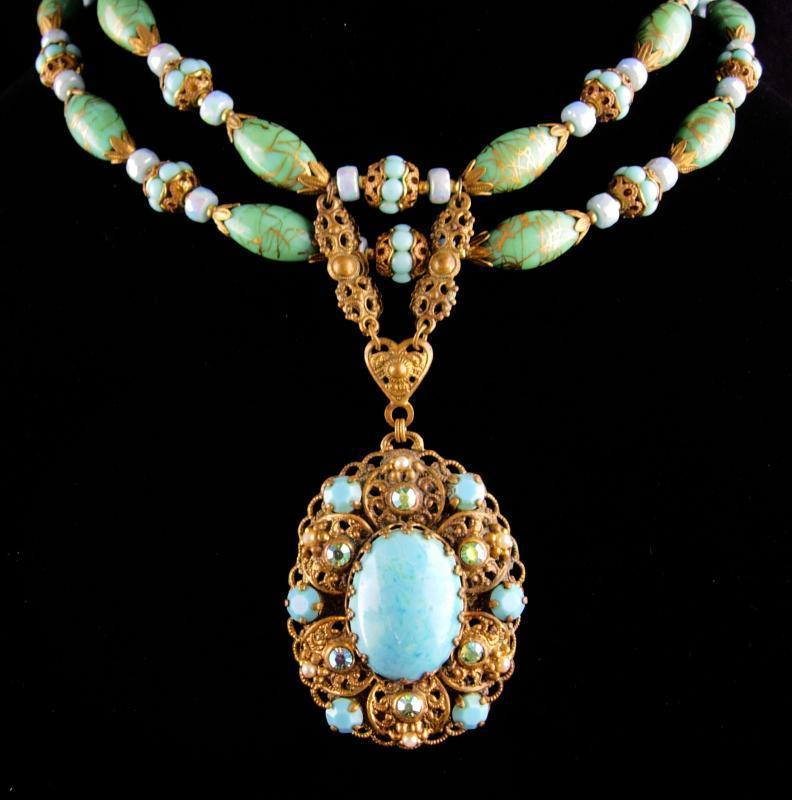 Vintage edwardian style Necklace - venetian Turquoise beads - W Germany filigree pendant - Victorian necklace - 2 strand choker