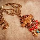 Fabulous Egyptian necklace / winged golden Scarab / HUGE Ormolu tassel drop / vintage statement jewelry / King tut  / cleopatra's delight