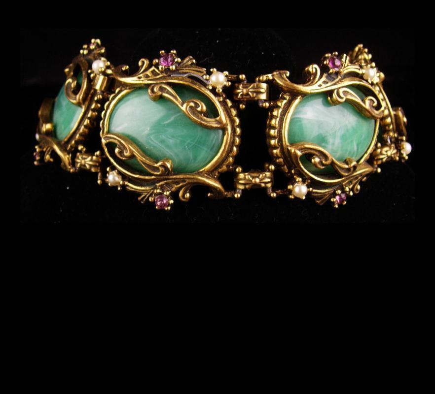 Vintage GOTHIC OLD nouveau Big Bracelet -  Purple rhinestone - Suffragette Vintage green galalith stones - Suffragette jewelry -