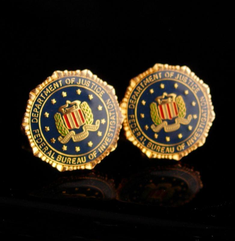 Vintage FBI Cufflinks / Federal Bureau of Investigation  / eagle shield  Cufflinks / enamel Eagle / Shield Law Enforcement graduation gift