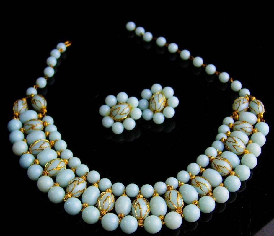 Edwardian Collar - retro aqua haunted pearl choker earrings - vintage wide caged pearl set - statement necklace - Dramatic collar