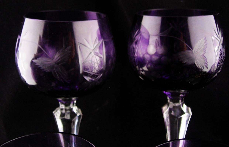 Vintage Cut to clear amethyst glass set 7 piece goblet bohemian PURPLE glass Liqueur wine cordials