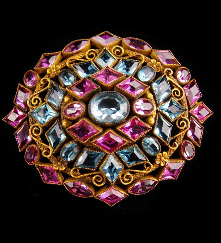 Rare beauty Antique large rare czech brooch - Victorian open back faceted glass stones - vintage art deco brooch - estate jewelry