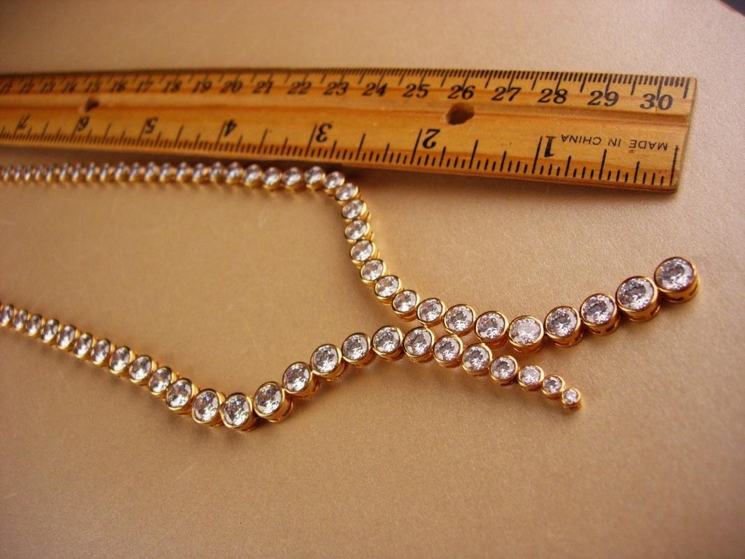 Designer brilliant crystal rhinestone necklace / rose gold over sterling - Victoria Wieck bridal necklace / 30th anniversary /