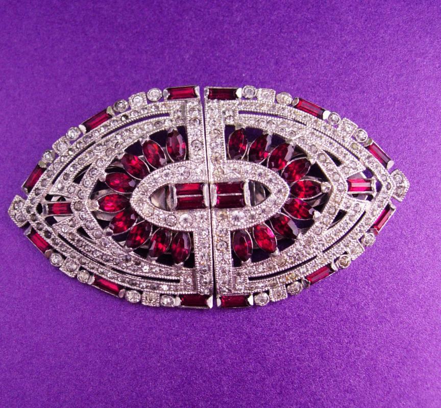Vintage Coro Duette dress clip - signed silver fur clip brooch set - magenta dress clips - clear rhinestones - rhodium  art deco jewelry