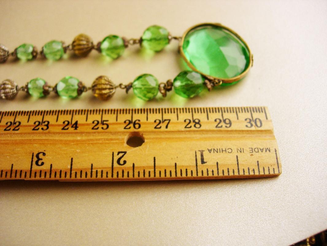 1920s Art Deco Necklace - green glass -  vintage czech choker - irish gift - estate jewelry