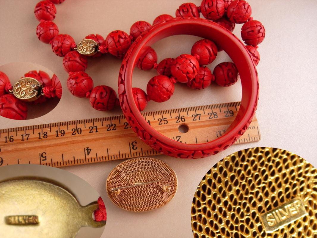 Antique sterling cinnabar set - Oriental brooch - Asian bangle bracelet - Vintage carved cinnabar parure - sterling silver pin - estate set