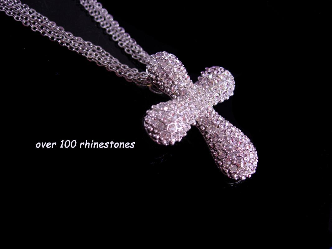 Stunning pave Cross necklace - Beautifully Crafted - brilliant 100 cz's - sweetheart anniversary - sympathy gift