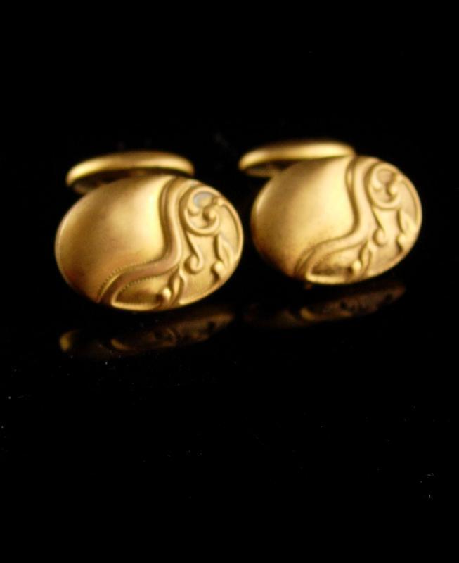 Antique Art nouveau cufflinks -  victorian groom cufflinks  - wedding estate jewelry
