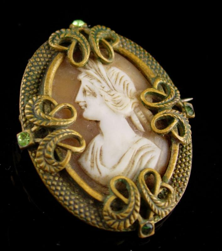 Genuine Cameo Brooch antique victorian pin - Vintage Figural Woman - Gift for mom - anniversary gift