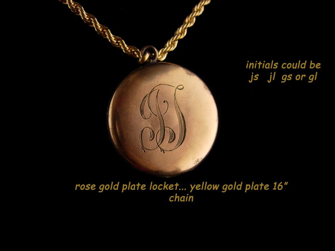 Antique Fleu de lis Locket - Vintage rose gold plate art  deco locket - 16
