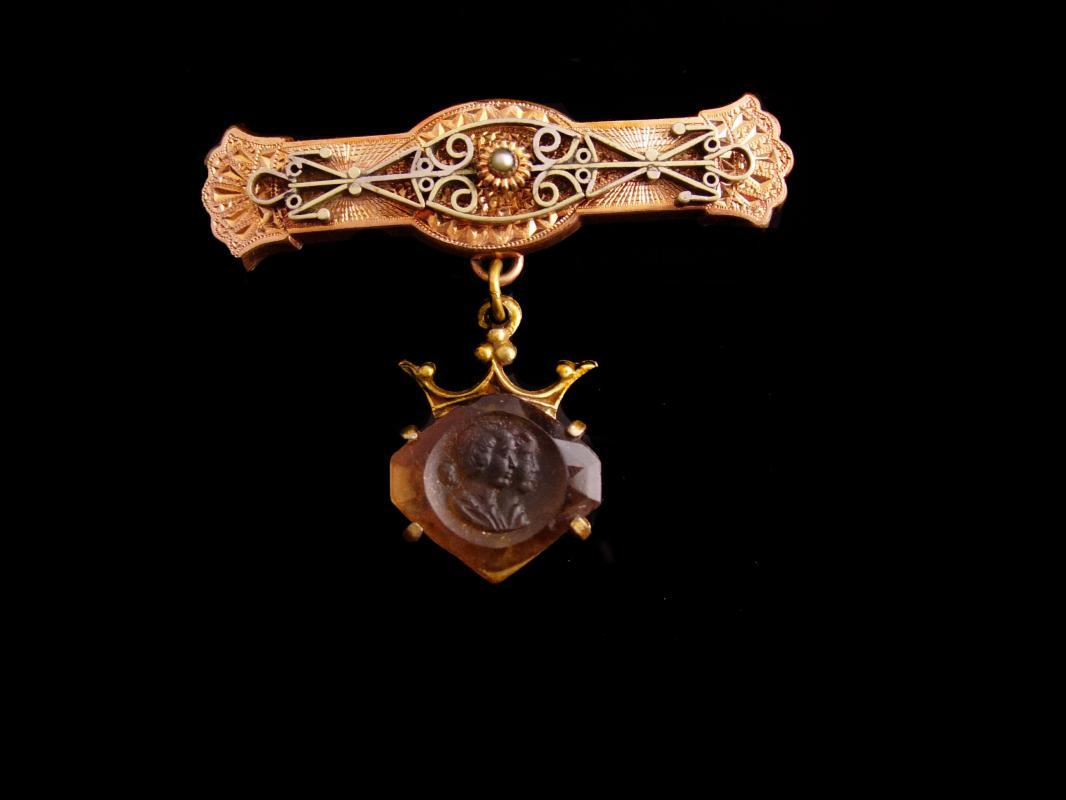 Gorgeous Antique Victorian Fob brooch - rose gold plate - cameo pendant - estate jewelry - Vintage keepsake lapel pin