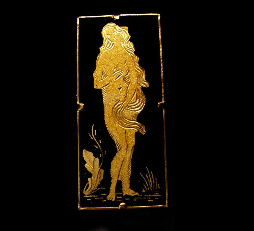Victorian Goddess Aphrodite nude Brooch - Venus Nymph Damascene pin - greek goddess - Gift for dad - black and gold figural jewelry