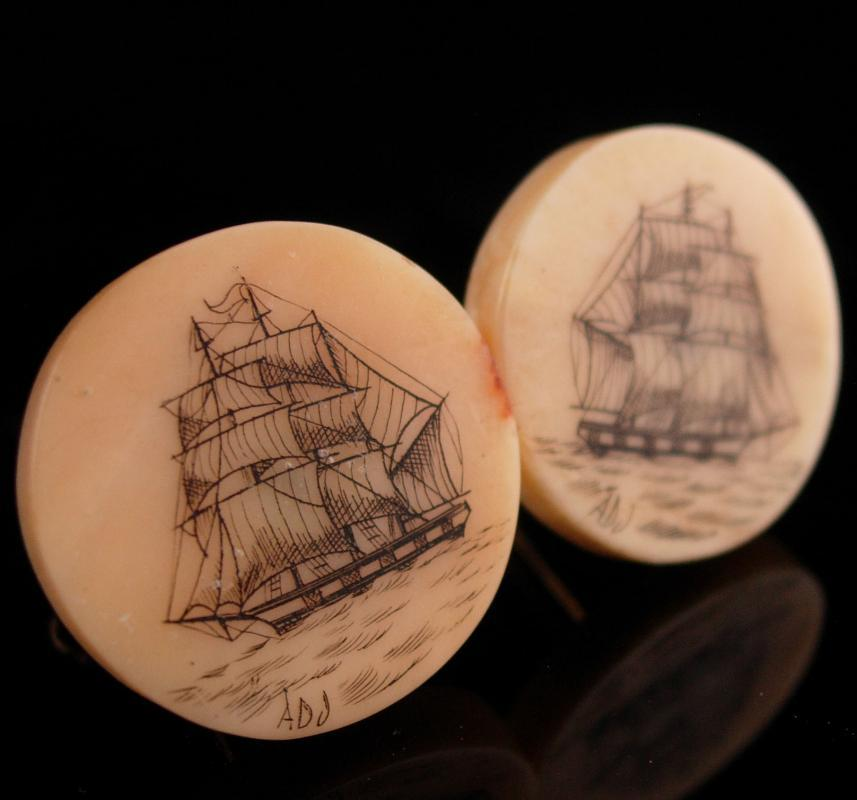 Scrimshaw Pirate Vintage ship Cuff links - carved sail boat signed cufflinks - schooner sailing set -  Sailor Nautical gift for dad
