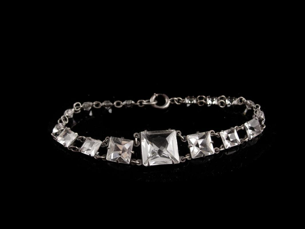 Vintage Art deco rock crystal bracelet / Antique faceted open back quartz bracelet - estate jewelry - fancy etchings