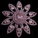 Large rhinestone starburst pin - Big stunning flower brooch - 1950s estate jewelry - bridal brooch