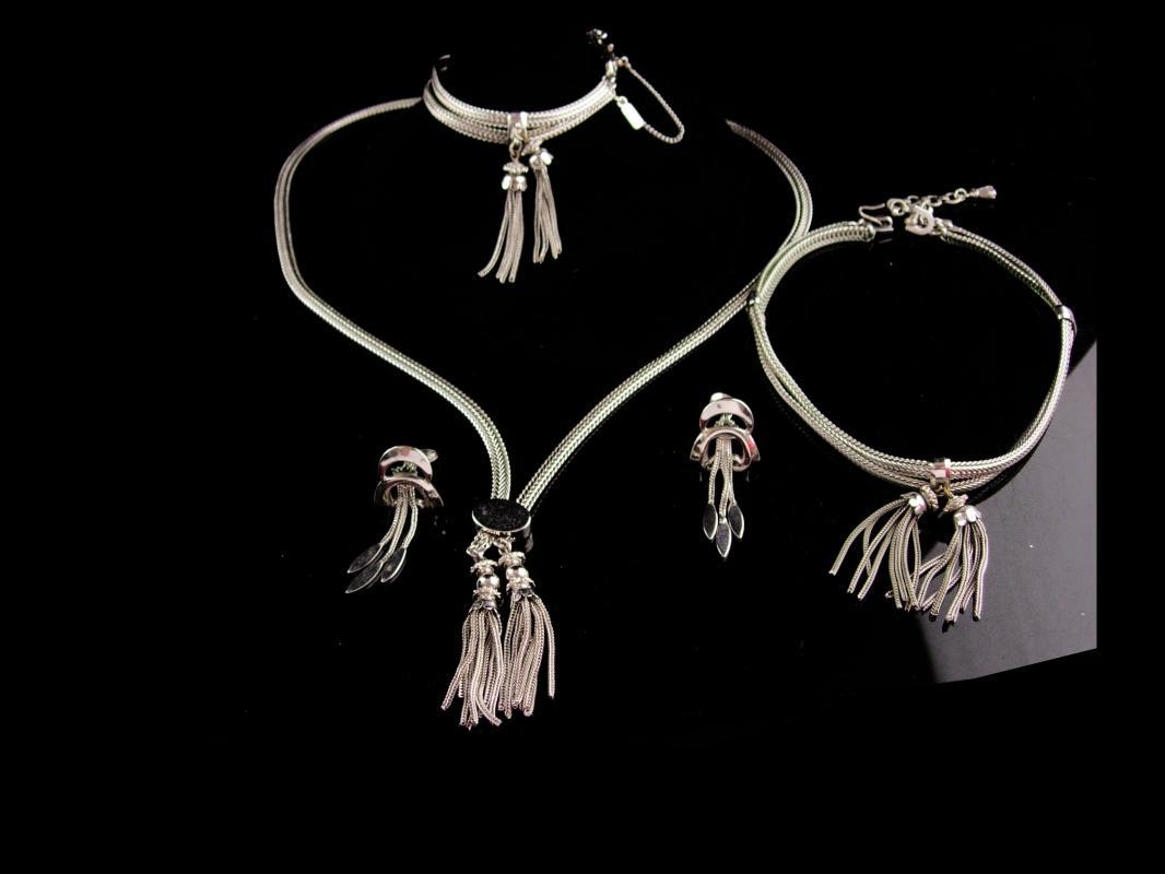 Vintage Monet necklace parure - silver Tassel Choker - tassel bracelet - signed couture jewelry - Clip earrings - flapper Chain set