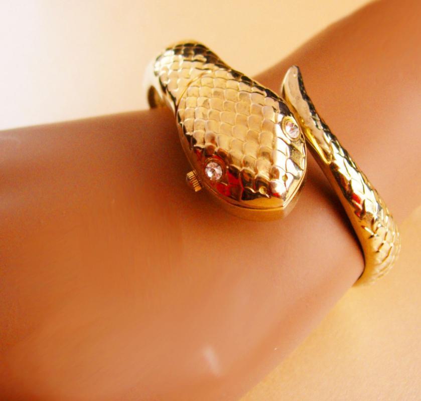 Vintage Snake watch - serpent cuff bracelet - hidden locket bracelet - cleopatra wrist watch - hinged vintage bracelet