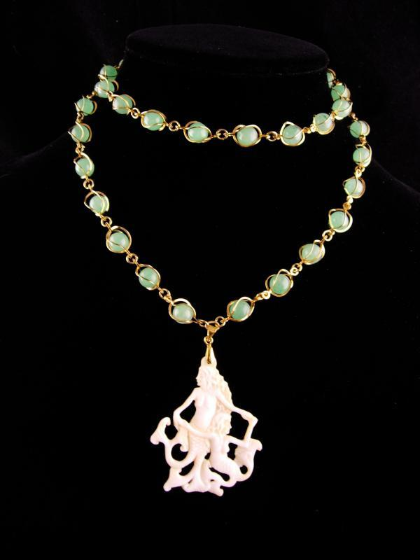 Exotic Carved Mermaid necklace - Faux jade - statement jewelry - nautical nude nymph whimsical jewelry