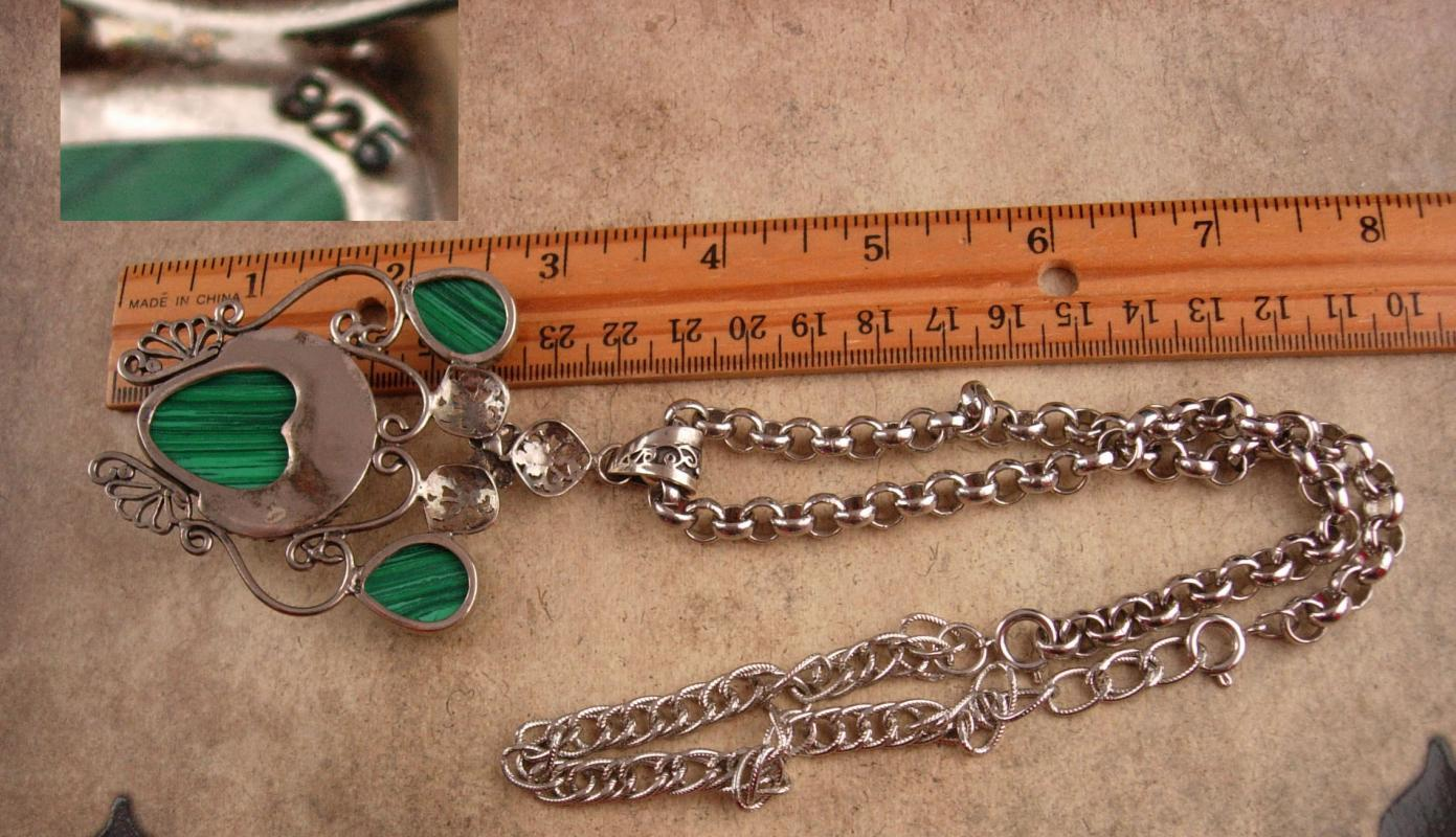Vintage Moon Goddess Necklace - Sterling malachite BIG pendant - Irish Gift - statement necklace
