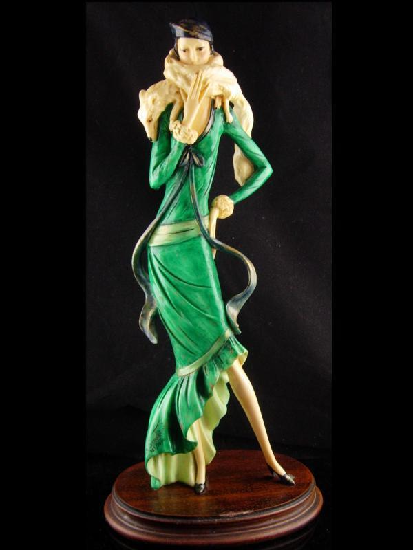LARGE Vintage Art Deco Statue - A. Santini - Woman and fox - ITALIAN statue - exotic female statue - numbered figurine - saluki dog