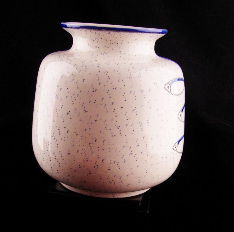 Eduardo Vega Ceramic Art Studio Vase - Vintage Abstract blue fish - Mid century modern pottery - Primitive design