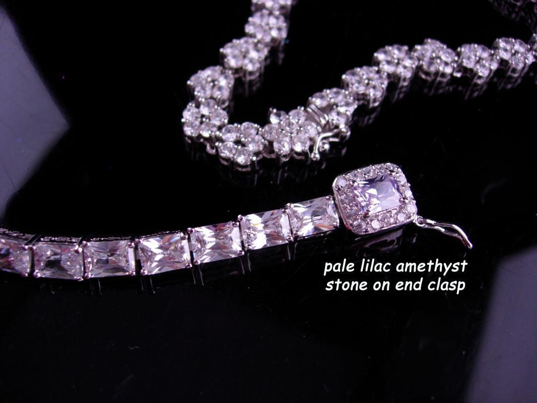 Dazzling Sterling Choker and bracelet - statement necklace - 925 silver choker - Vintage sparkling formal wear - CZ flower - Bridal jewelry