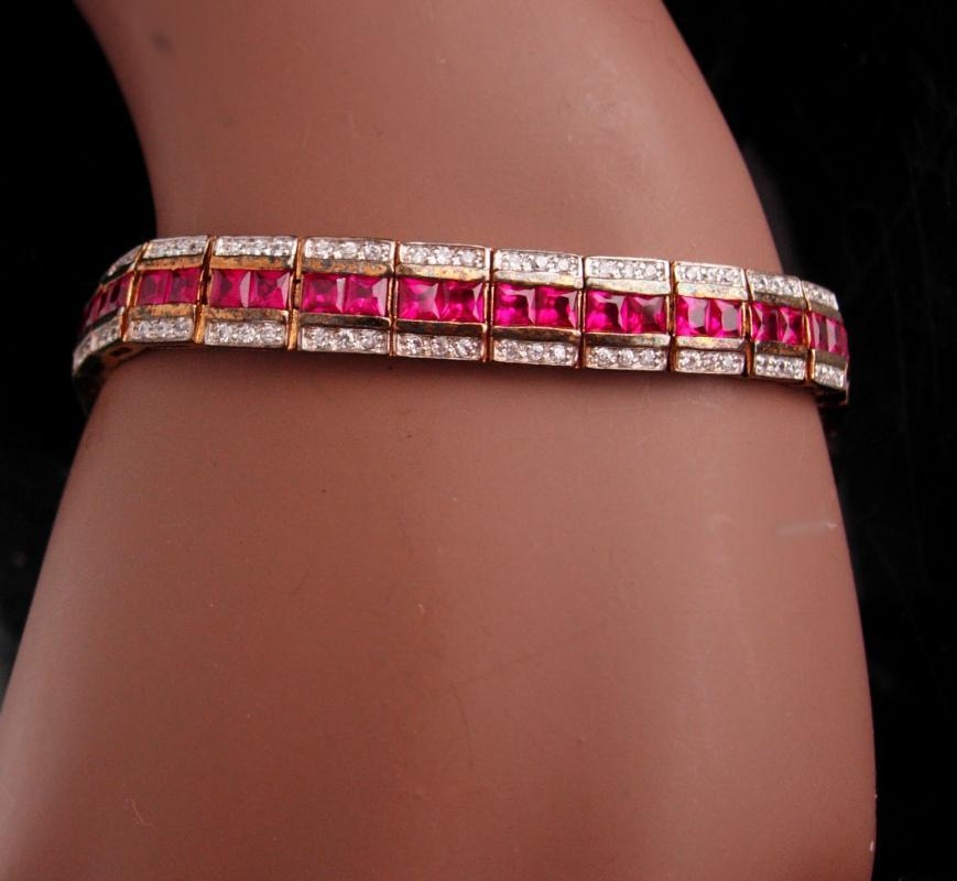 162 Diamonds - Ruby sterling gold art deco style  bracelet - sweetheart gift - july birthstone 15th 40th anniversary  womens jewelry