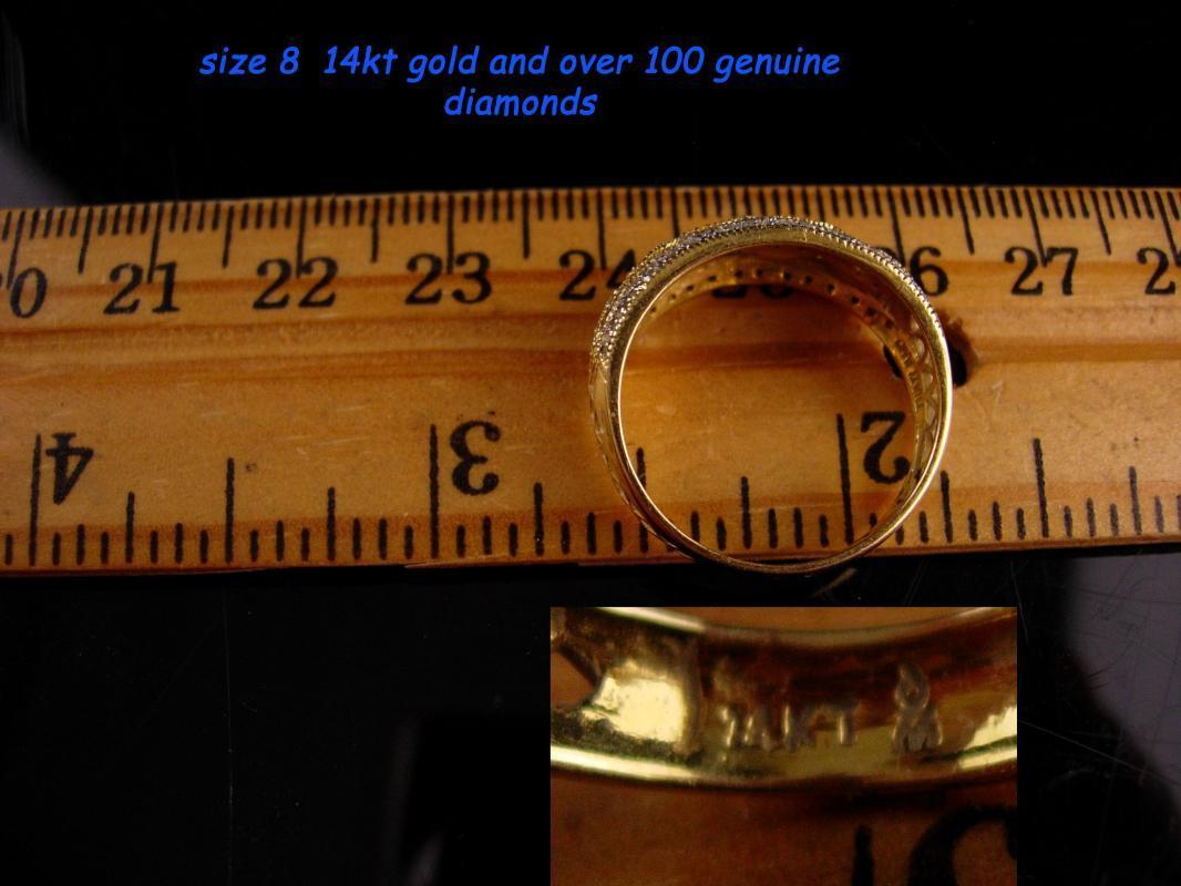 100 diamond 14kt wedding band - Yellow gold wedding ring - mens womens ring - anniversary gift