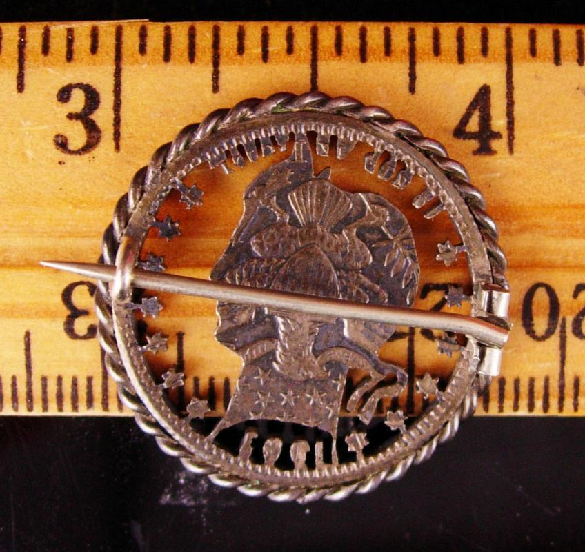 1903 Vintage Love token brooch - Victorian coin medallion estate jewelry - barber silver coin - lady liberty