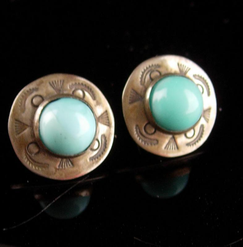 Victorian antique sterling Earrings - native american turquoise screw back - Indian ladies silver jewelry - estate fine jewelry