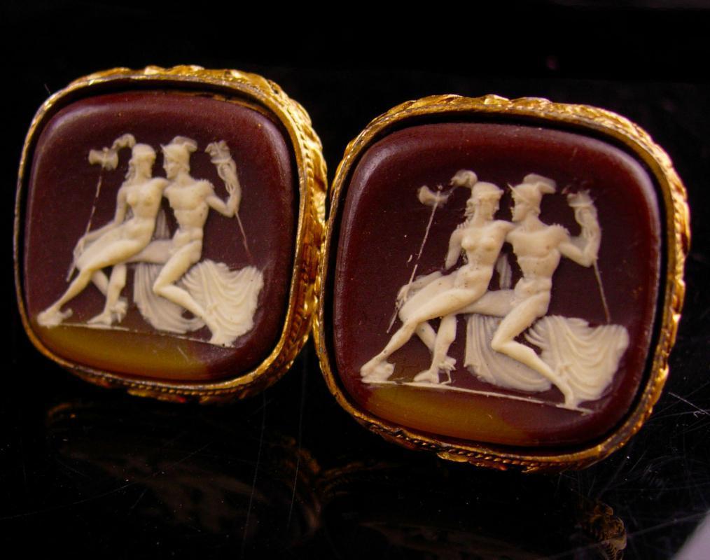 HUGE Mythology Cufflinks Hermes cufflinks  Aphrodite Gold cufflinks Vintage cufflinks Mythical incolay cameo Cufflinks gold Accessory