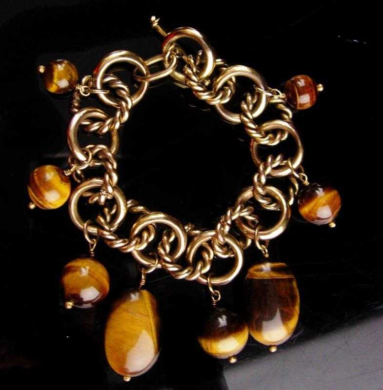 Large  Tiger Eye charm bracelet - Vintage big tiger eye beads - anniversary gift - Chinese good luck gift - protection stone