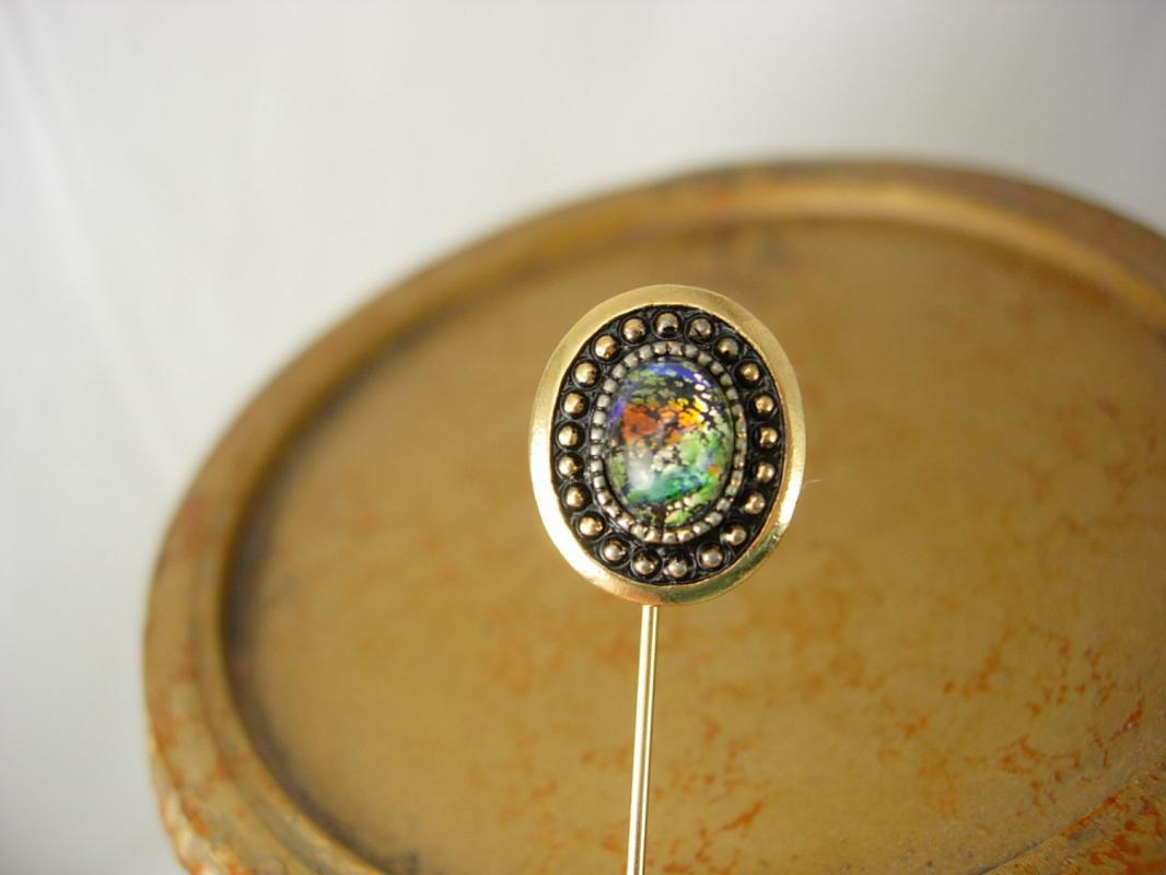 Vintage Dragons Breath Stickpin Gold Filled Victorian Raised Relief Jelly Opal Birthday Mothers Day Holiday