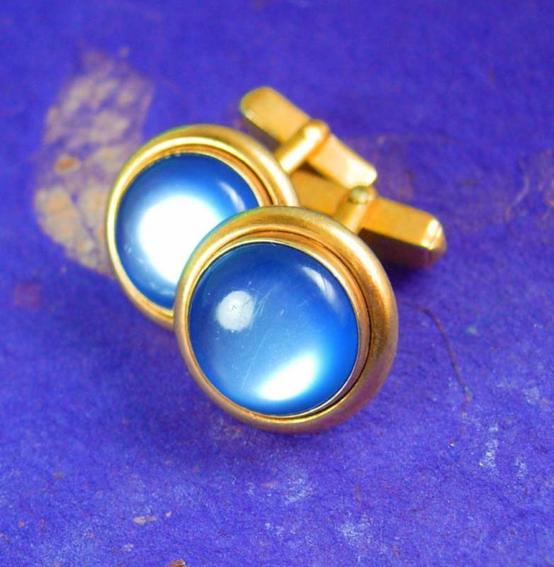 Baby blue Cufflinks Vintage moonglow wedding cuff links Swank mens accessory unisex gift