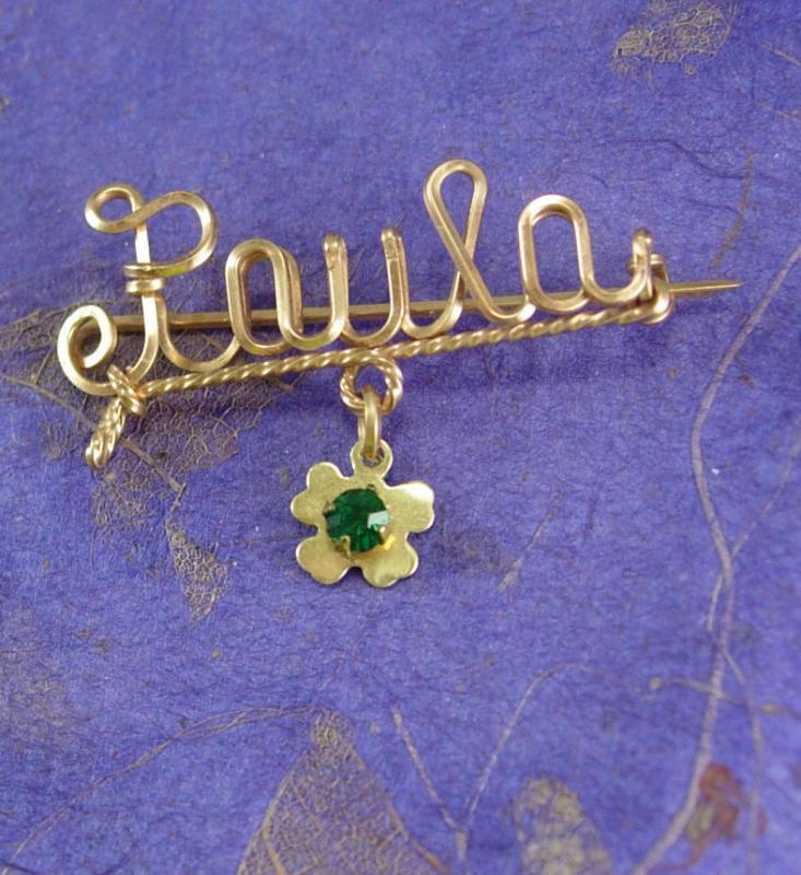 Vintage PAULA Sweetheart Brooch WWII Gold Fill Mothers Day Iris shamrock faux emerald stone Birthday personalized jewelry