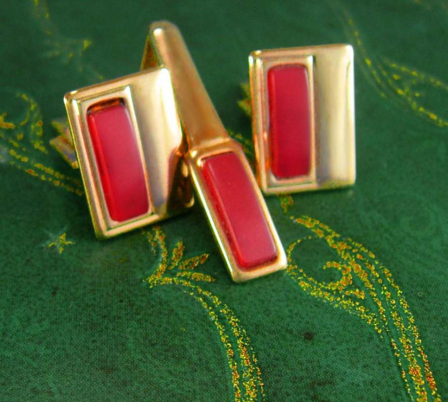 Vintage Cranberry Cufflinks & Tie clip Birthday gift  Fathers Day Wedding jewelry Red gold groom gift pink theme Tie bar