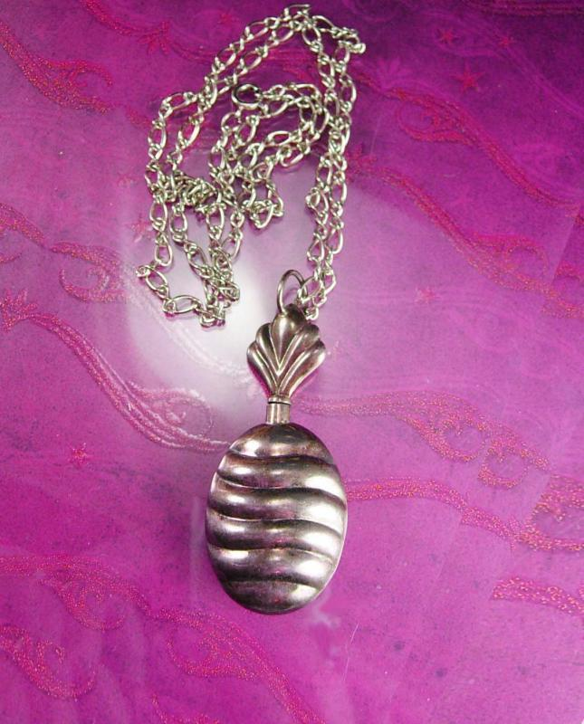 Sterling Pineapple Perfume Pendant Silver Necklace Signed ND Bottle 25 inch Chain Norway scandanavian designer Fine Jewelry