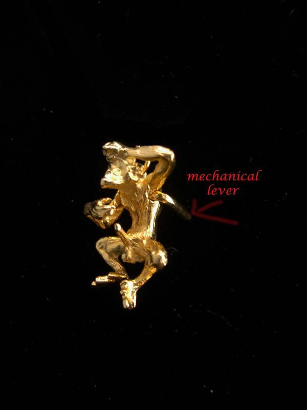 Naughty monkey pendant / Vintage gold necklace / Risque animal / bachelor party gift / erotic mechanical whimsical nude / mature 24